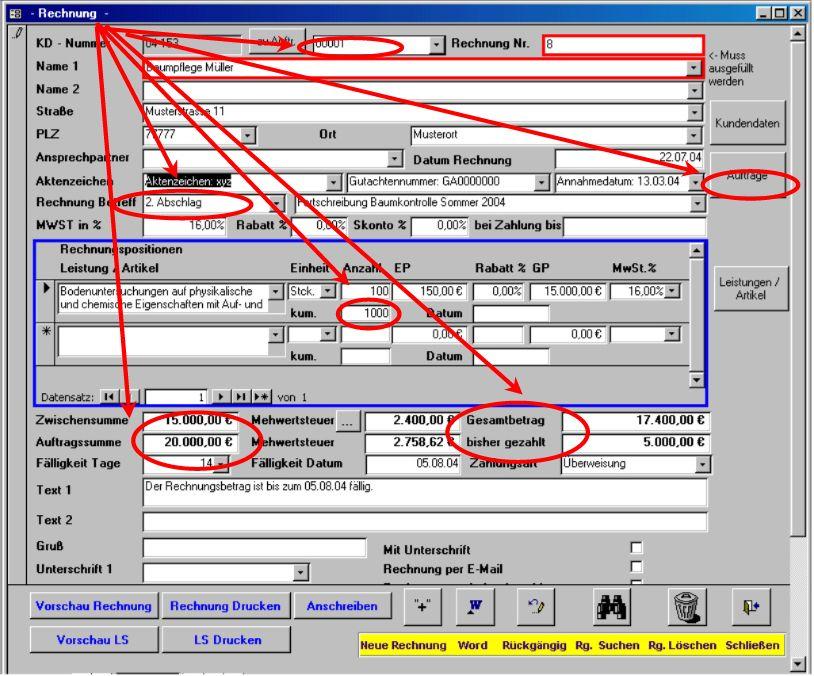 Rechnungsprofi Registratur Von Aufträgen Und Zahlungsbedingungen